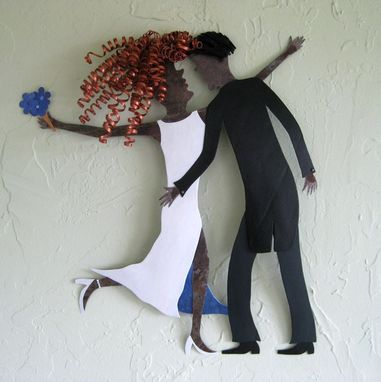 "Custom Made Handmade Upcycled Metal Wedding Couple Wall Art Sculpture ""Kiss The Bride''"
