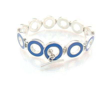 Custom Made Ultramarine Blue Hinged Bracelet With Toggle Clasp - Sterling Silver And Resin Link Bracelet