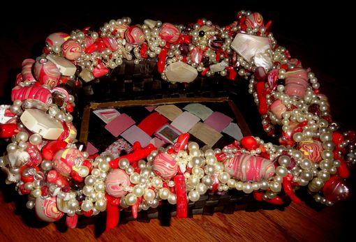 Custom Made Decorative Faux Pearl, Coral Stick,  Mop Nugget & Polymer Clay Bead Wicker Basket