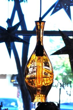 Custom Made Wine Bottle Whiskey Hanging Light Pendant Beach Glass Lamp With Edison Bulb