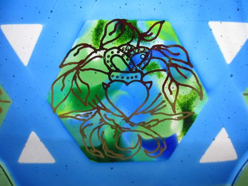 Custom Made Fused Glass Wedding Gift - Celtic Star Sculpture