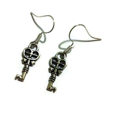 Custom Made Silver Fancy Key Earrings