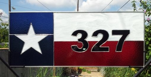 "Custom Made Stained Glass Address Marker - ""The Lone Star State"" / Texas Flag (Am-190)"