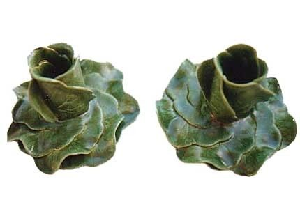 Custom Made Whirled Geranium Leaf Candle Holder Pair - Jade
