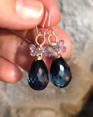 Custom Made London Blue Topaz Quartz And Finest Sapphire Gold Filled Wire Earrings