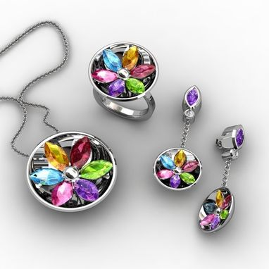 Custom Made Full Colorful Jewelry Set