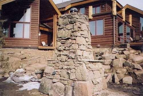 Custom Made Custom Stone Outdoor Fireplace