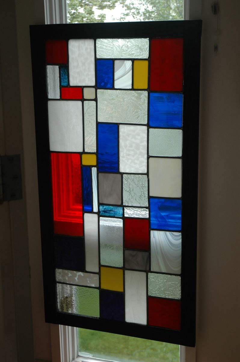 Handmade Mondrian Style Stained Glass Window By Custom