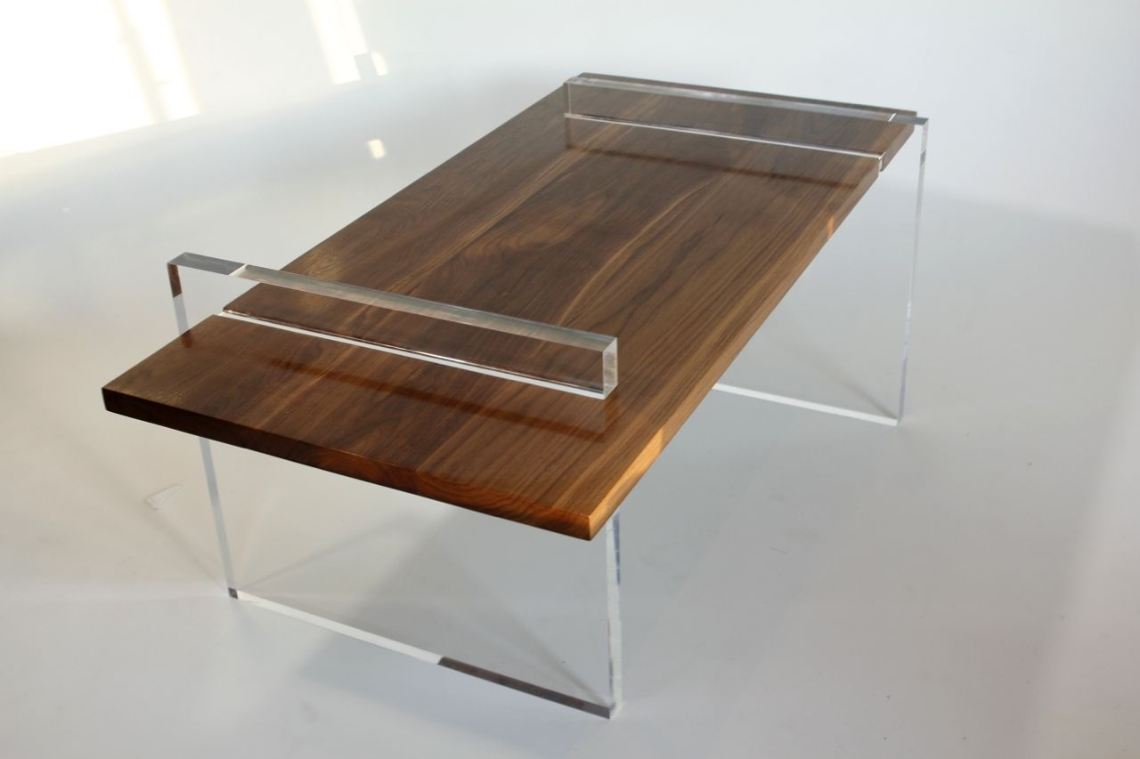 Hand made cast acrylic walnut coffe table by asheville for Table asheville