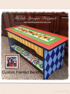 Custom Made Custom Wood Bench Hand Painted Whimsical Harlequin Swirls Sunflowers