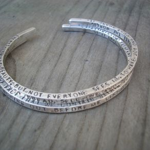 Cuff Bangle With Custom Message By Donna Okino