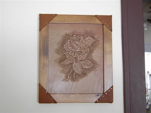 Custom Made Hand Tooled Leather Rose In Frame