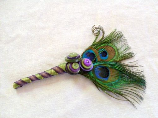Custom Made Peacock Feather And Buttons Wedding Boutonniere