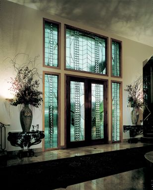 Custom Made Contemporary Entry With 10' Doors, Custom Beveled Glass And Cast Glass Pyramids Set In Copper Cames With Verdigris Finish