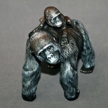 "Custom Made Gorilla ""Mama & Baby Gorilla"" King Kong Figurine Statue Sculpture Limited Edition Signed Numbered"