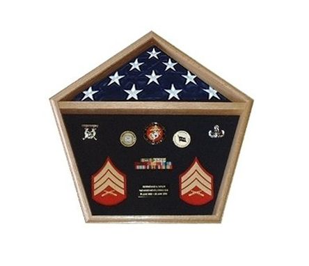 Custom Made Pentagon Military Shadow Box Pentagon Flag Display Case
