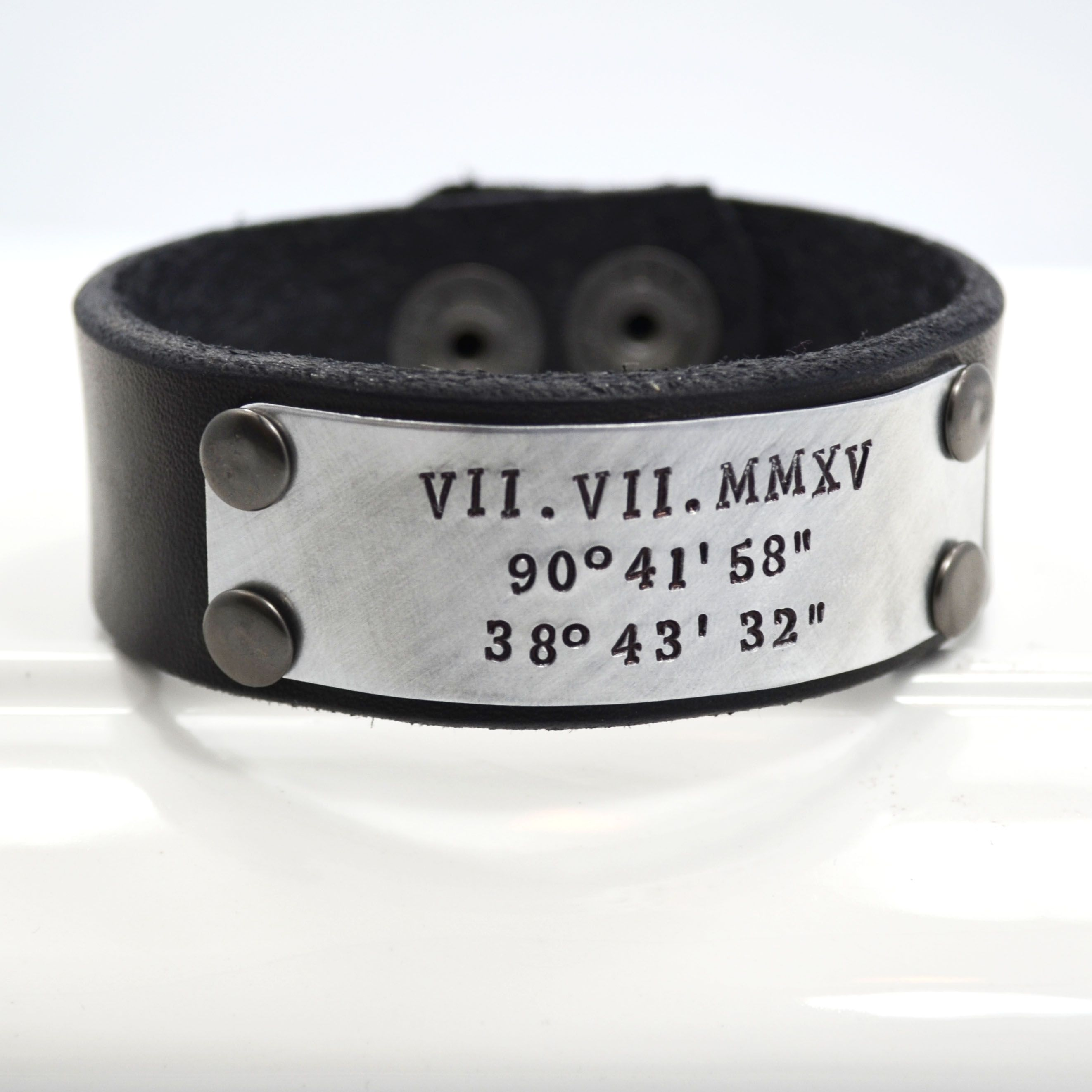 Hand Made Leather Cuff Bracelet For Men Or Women Personalized With Roman Numerals Dates Names To Order From Designme Jewelry Custommade