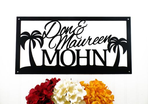 Custom Made Custom Outdoor Family Name Metal Sign With Palm Trees - 20x10