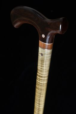 Custom Made Handmade Walking Cane In Ebony And Maple Wood - Walking Stick, Gift Idea, Wood Art