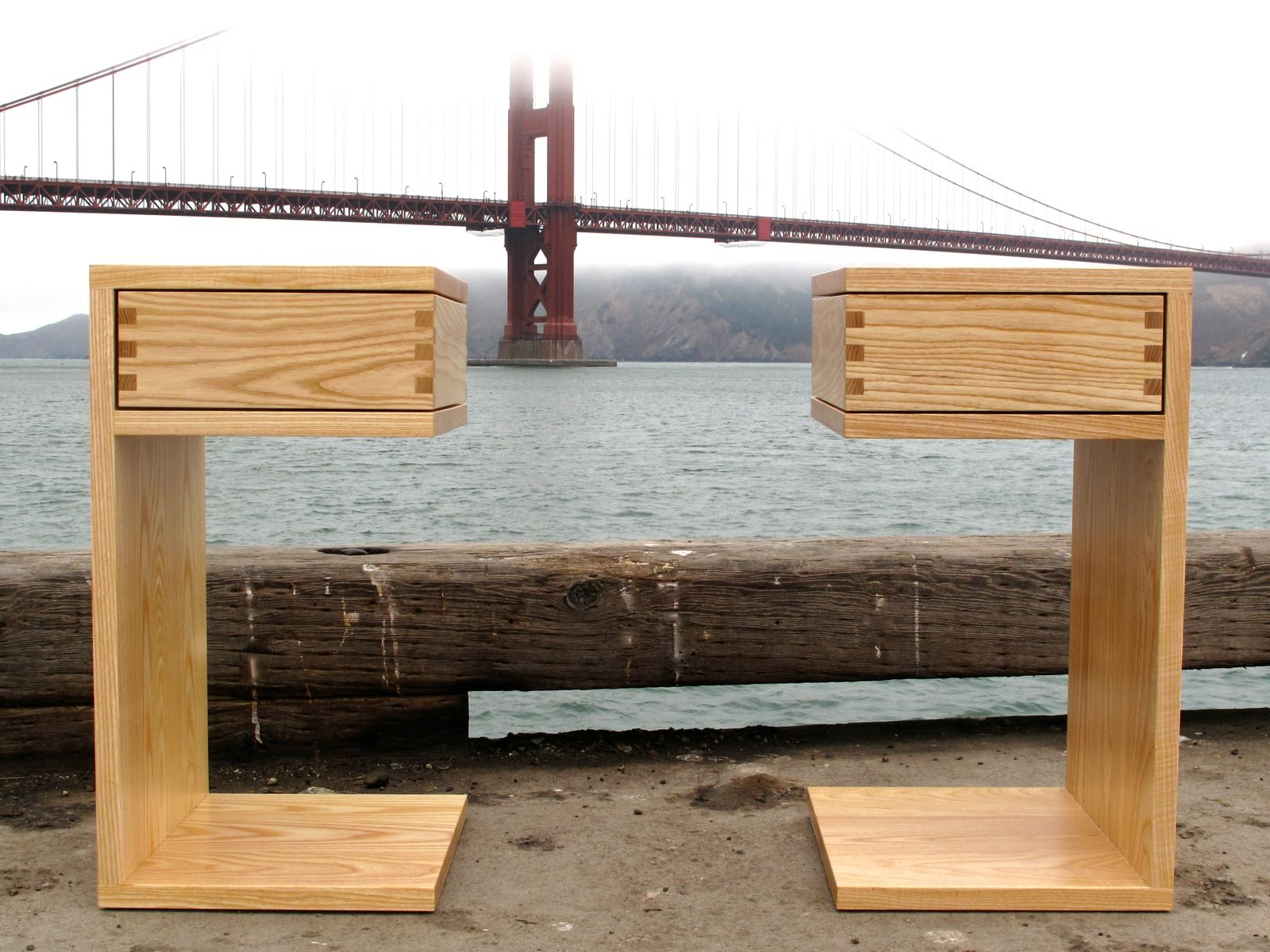 Hand made reclaimed cedar box joint bench coffee table by - Custom Made Side Tables Floating E Box Joint