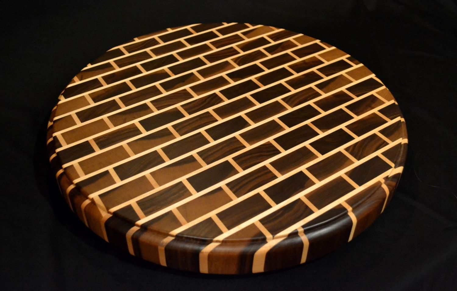 Buy Hand Crafted Signature Black Walnut End Grain Round Cutting Board Made To Order From Magnolia Place Woodworks Custommade Com