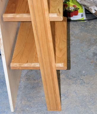 Custom Made Leaning Shelf Unit Solid Cherry
