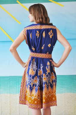 Custom Made Batik-Printed Paisley Wrap Dress In Indigo, Red And Goldenrod, One Of A Kind