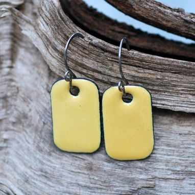 Custom Made Enamel Earrings, Copper Rectangle, Small, Enameled Jewelry Yellow - Lemon
