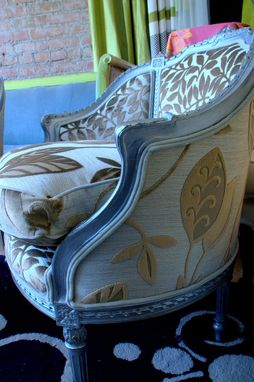 Custom Made Upholstered Chair Vintage Chair Hand Painted In A Silver Finish
