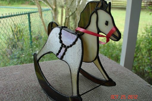 Custom Made Red Saddled On Cream & Caramel Stained Glass Rocking Horse