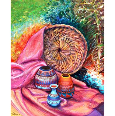 Custom Made Acrylic Painting Still Life With Indian Pottery