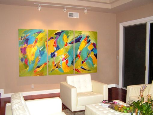 Custom Made Abstract Oil Painting On Canvas For Remodeled Living Room