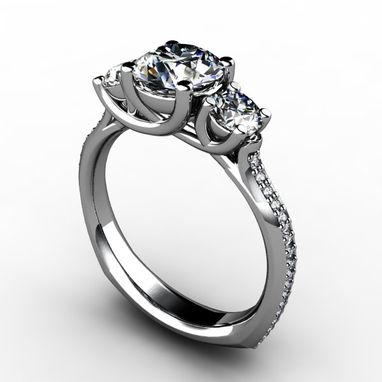 Custom Made Three Stone Round Diamond Ring With Side Diamond Accents
