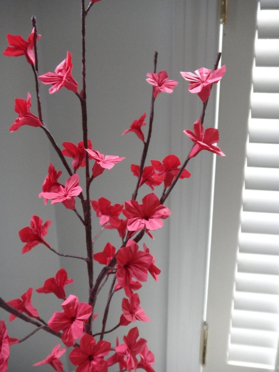 Hand Made Origami Paper Cherry Blossom Flowers Red By Dear Betsy