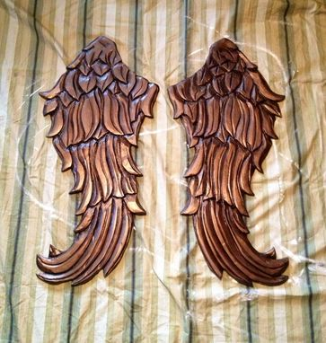 Custom Made Angel Wings Wall Decor Wood Carving