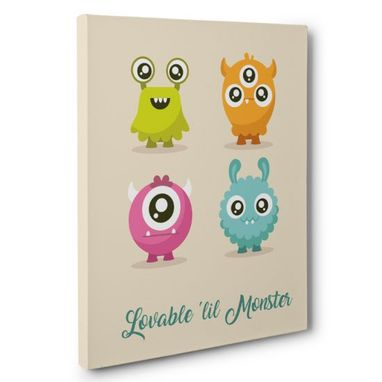 Custom Made Lovable Lil Monsters Nursery Canvas Wall Art