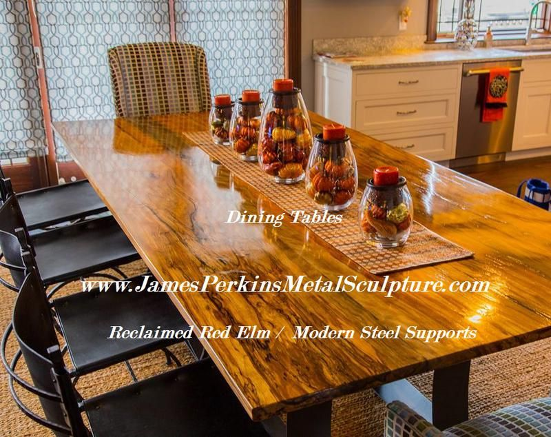 A Custom Made Reclaimed Red Elm Dining Table To