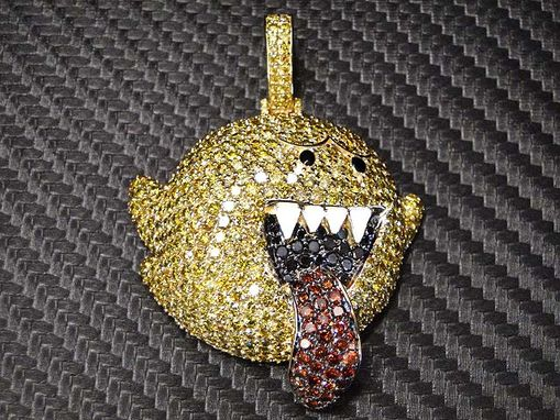 Custom Made Super Mario Ghost Diamond Pendant