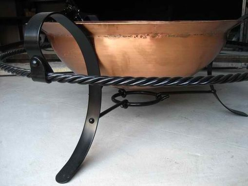 Custom Made Custom Copper Fire Bowl W Signature Footrest Stand