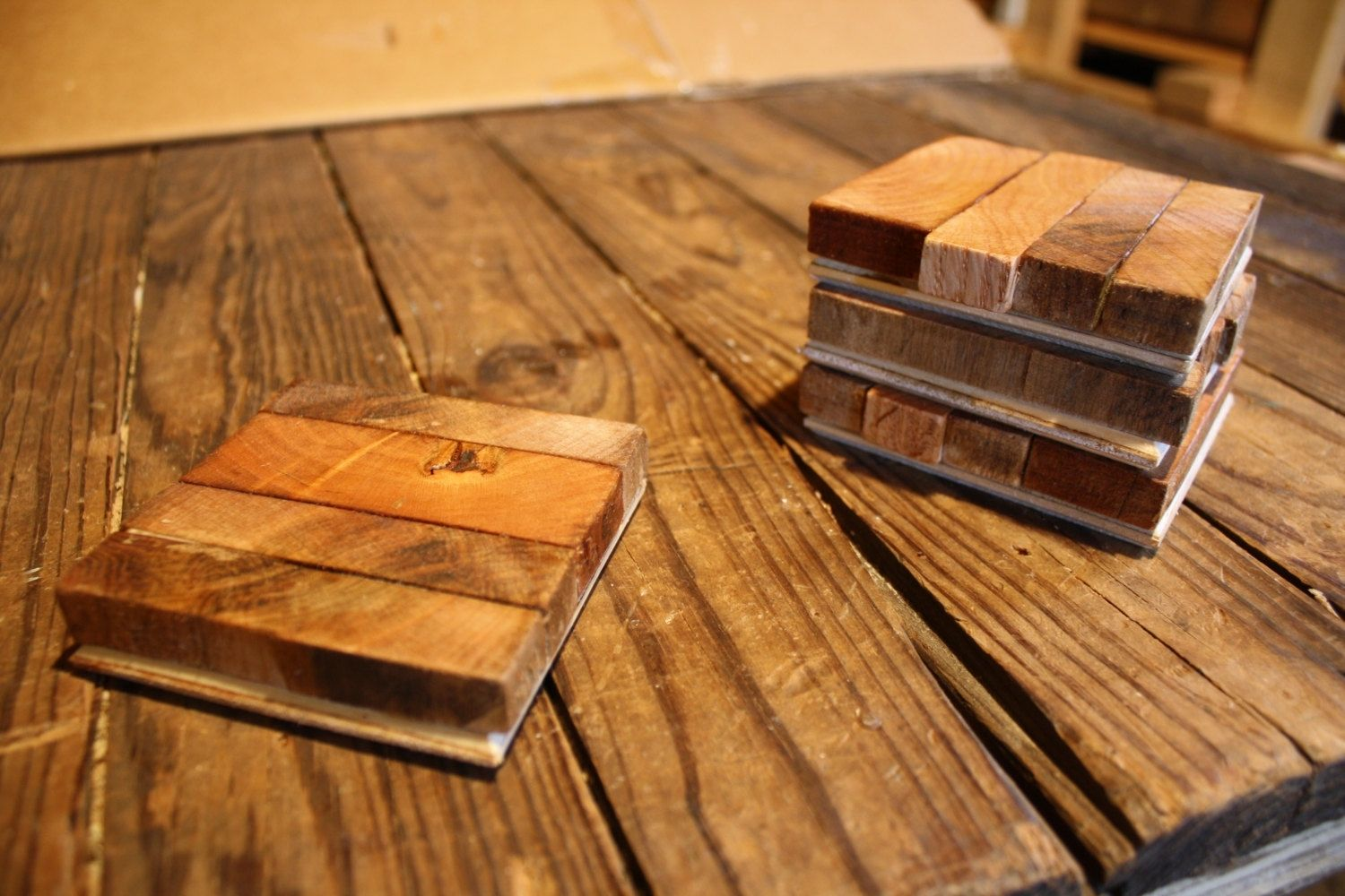 Custom Reclaimed Wood Butcher Block Style Coasters Set Of