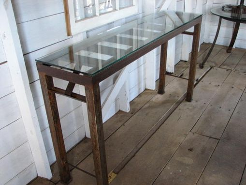 Custom Made Industrial Repurposed Metal Table With Glass Top
