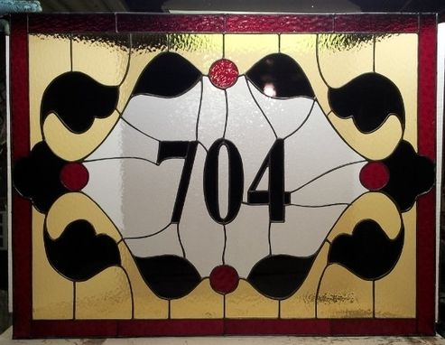 Custom Made Stained Glass Transom - Traditional Address Marker (Tw-35)