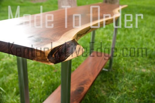 Custom Made Live Edge Console Table With Shelf Steel Frame