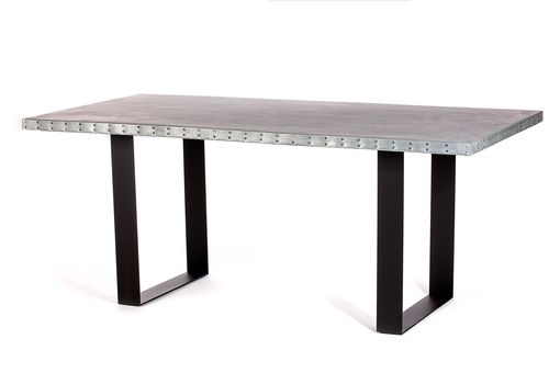 Custom Made Zinc Table Zinc Dining Table -  The Maddox Zinc Top Dining Table