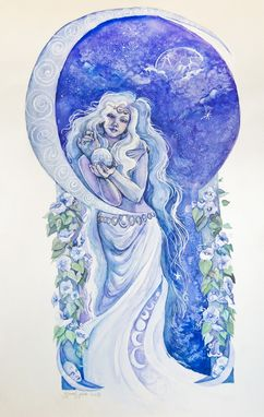Custom Made Night, Watercolor Painting, Includes Moonflowers And Female Figure In Art Nouveau Styling