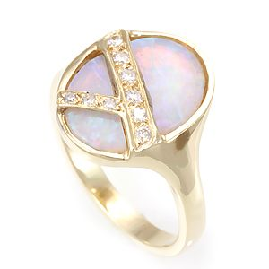 Custom Made Opal And Diamond Ring In 14k Yellow Gold, Opal Ring, Ladies Ring