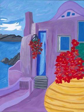 Custom Made Painting Of Santorini Greece