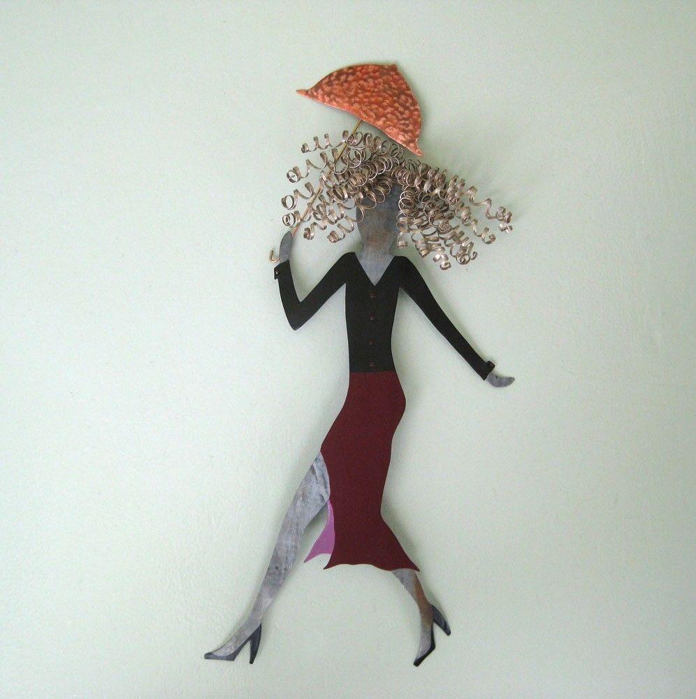 hand crafted handmade upcycled metal umbrella lady wall art