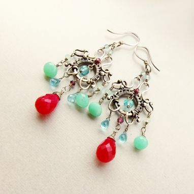 Custom Made Sterling Silver Handmade Chandelier Earrings