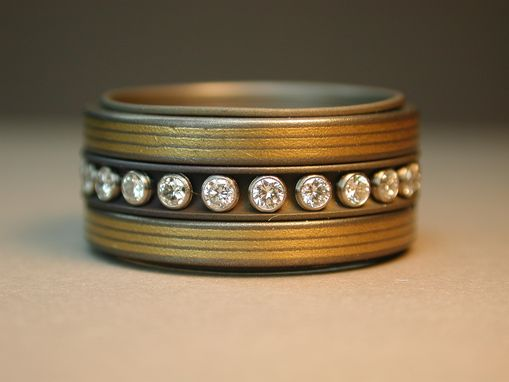 Custom Made Titanium Spinner Band With 24k Gold And Diamonds